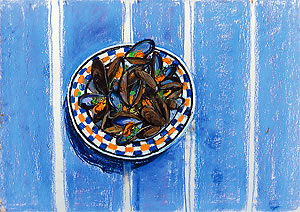 Plate of mussels by Virginia Powell, printmaker